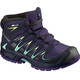 """Salomon Junior Xa Pro 3D Mid CSWP Shoes Acai/Evening Blue/Biscay Green"""